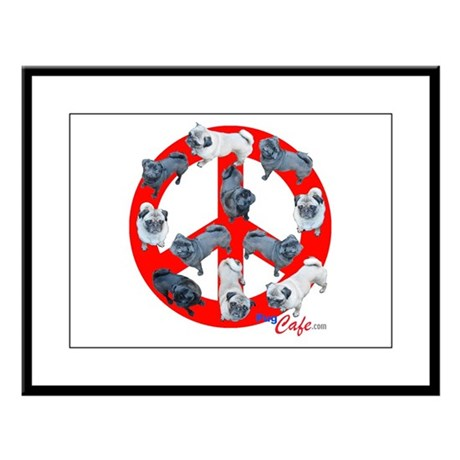 Pugs for Peace Large Framed Print