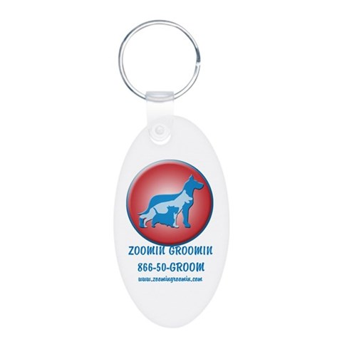 ZG Doghouse  Pets Aluminum Oval Keychain by CafePress
