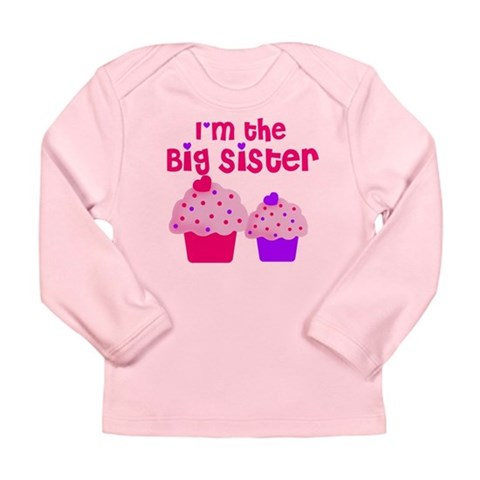 Big Sister cupcake  Family Long Sleeve Infant T-Shirt by CafePress