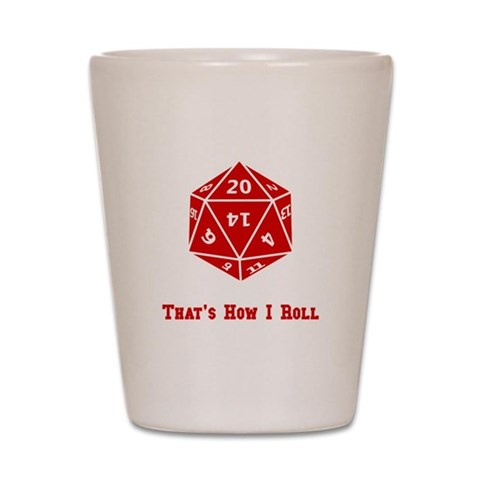 20 Sided Roll  Funny Shot Glass by CafePress