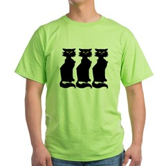 Yellow-Eyed Cats Green T-Shirt