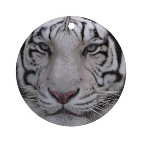 White Tiger Ornament Round Cats Round Ornament by CafePress