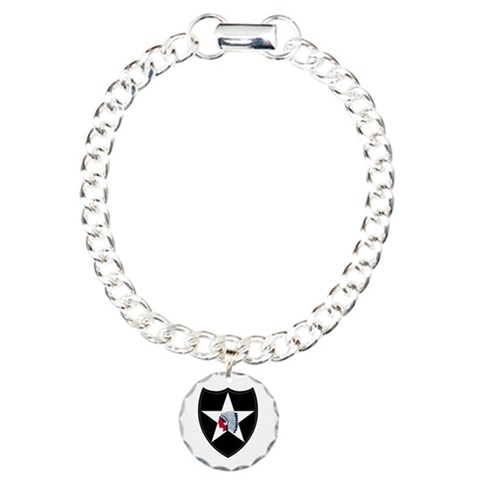 2nd Infantry  Military Charm Bracelet, One Charm by CafePress