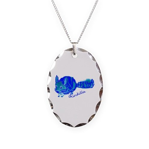 Chinchilla in Blue  Cute Necklace Oval Charm by CafePress