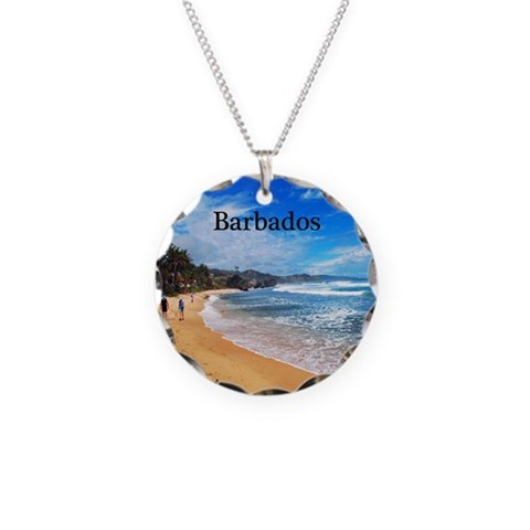 Barbados  Beach Necklace Circle Charm by CafePress