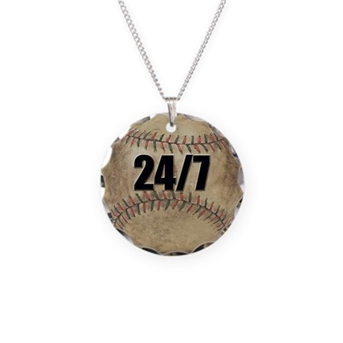 24/7 Baseball  Sports Necklace Circle Charm by CafePress