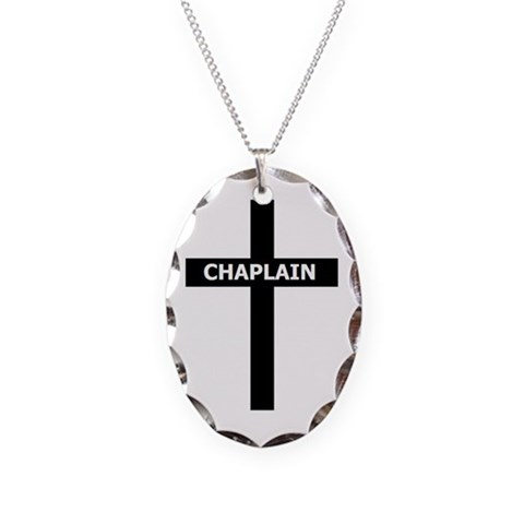 Chaplain/Cross/Inlay  Military Necklace Oval Charm by CafePress