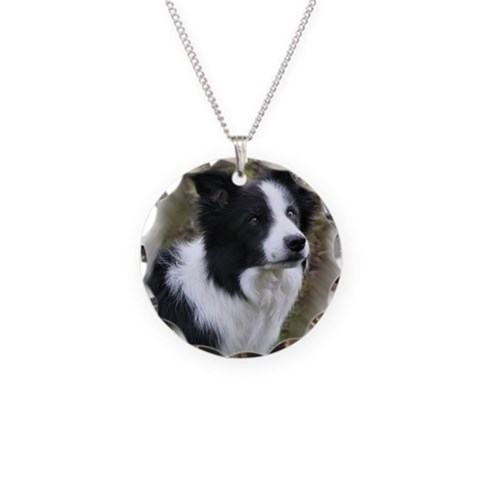 Border Collie Art  Pets Necklace Circle Charm by CafePress