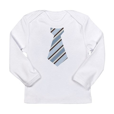 Blue stripe baby tie  Funny Long Sleeve Infant T-Shirt by CafePress
