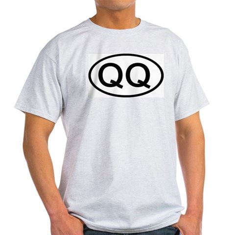 QQ - Initial Oval Ash Grey T-Shirt Car Light T-Shirt by CafePress