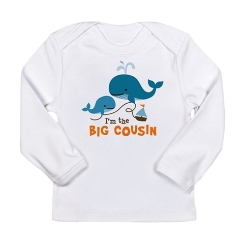 Big Cousin - Whale  Family Long Sleeve Infant T-Shirt by CafePress