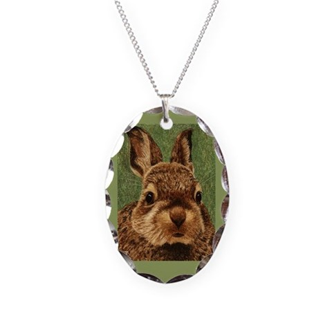 Baby Cottontail   Necklace Oval Charm by CafePress