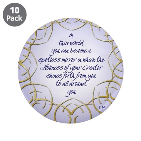ACIM-Spotless Mirror 3.5quot; Button 10 pack Cupsreviewcomplete 3.5 Button 10 pack by CafePress