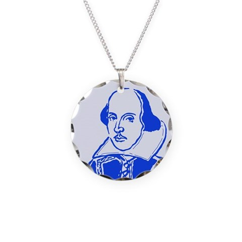 Blue Shakespeare  Literature Necklace Circle Charm by CafePress