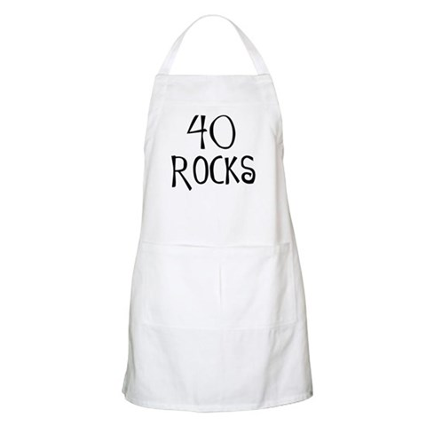 40th birthday saying, 40 rocks BBQ  40th birthday Apron by CafePress