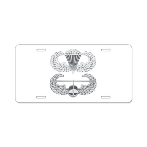 Airborne and Air Assault  Military Aluminum License Plate by CafePress