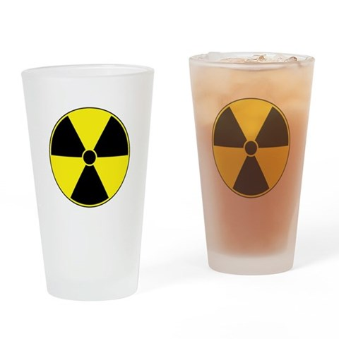 Yellow Radiation Symbol Pint Glass Science Drinking Glass by CafePress