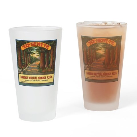 Yosemite Fruit Crate Label Pint Glass Vintage Drinking Glass by CafePress
