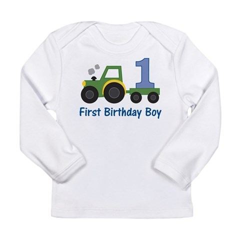 1st Birthday Tractor  Tractor Long Sleeve Infant T-Shirt by CafePress