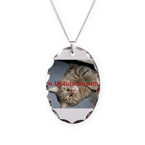 funny cat  Funny Necklace Oval Charm by CafePress