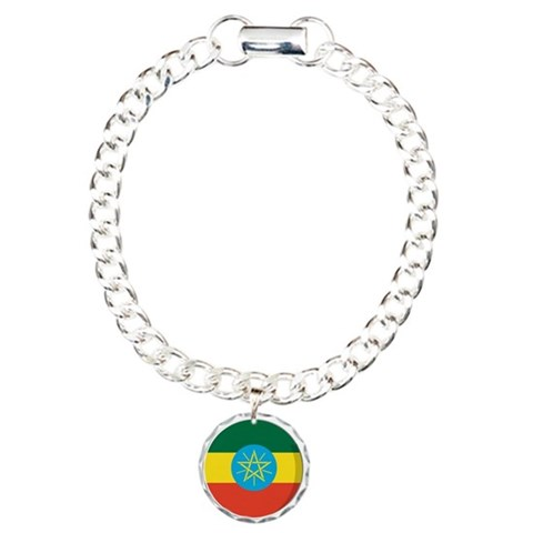 Cool Ethiopian flag designs Charm Bracelet, One Ch Ethiopian Charm Bracelet, One Charm by CafePress