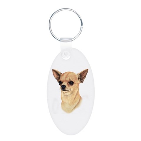 Chihuahua  Pets Aluminum Oval Keychain by CafePress