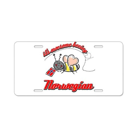 Awesome Being Norwegian  Norway Aluminum License Plate by CafePress