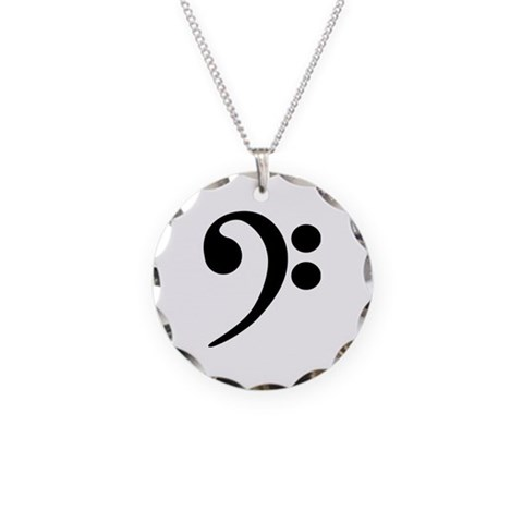 Bass Clef Symbol  Music Necklace Circle Charm by CafePress
