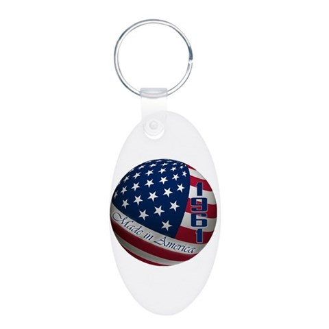 1961, Made in America, 50th  50th birthday Aluminum Oval Keychain by CafePress