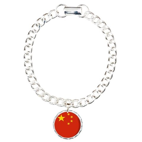 Cool Chinese flag designs Charm Bracelet, One Char Chinese Charm Bracelet, One Charm by CafePress