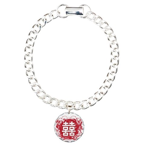 Chinese Double Happiness  Art Charm Bracelet, One Charm by CafePress