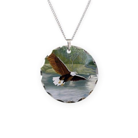 American Bald Eagle Flight  Art Necklace Circle Charm by CafePress