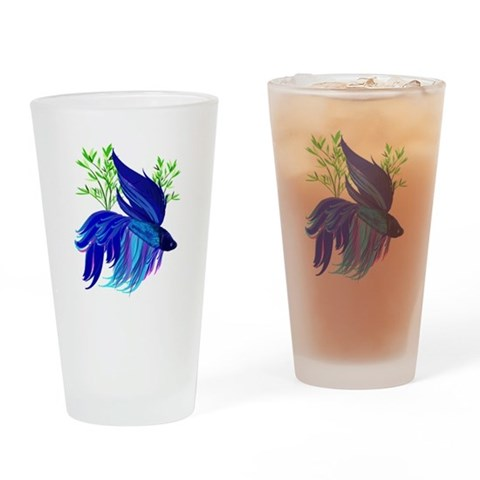 Big Blue Siamese Fighting Fis Pint Glass Pets Drinking Glass by CafePress