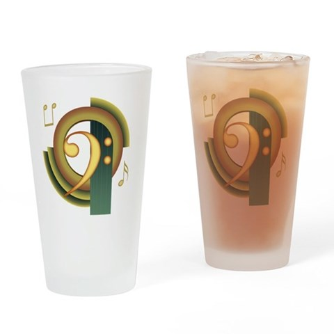 Bass Clef Deco Pint Glass Music Drinking Glass by CafePress