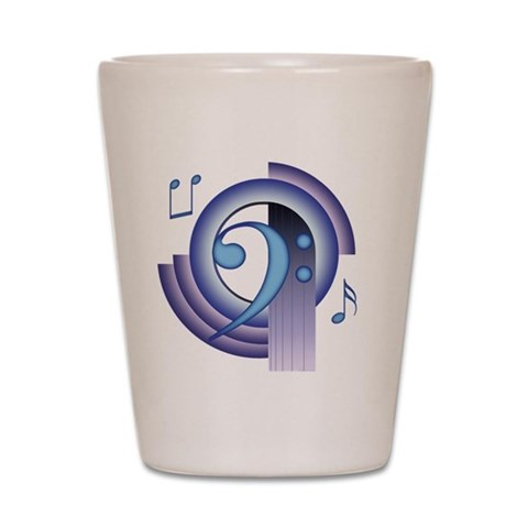 Bass Clef Deco2  Music Shot Glass by CafePress
