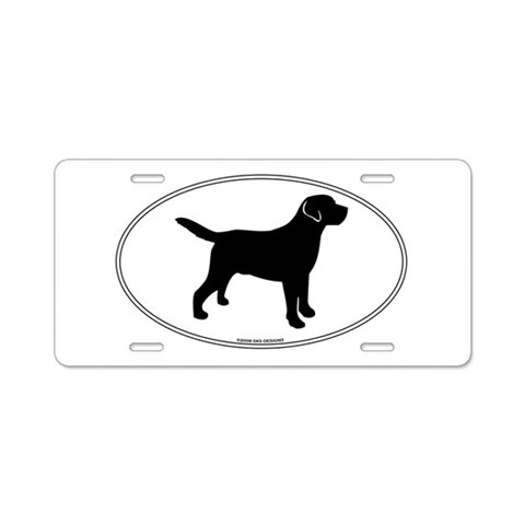 All Lab Outline  Pets Aluminum License Plate by CafePress