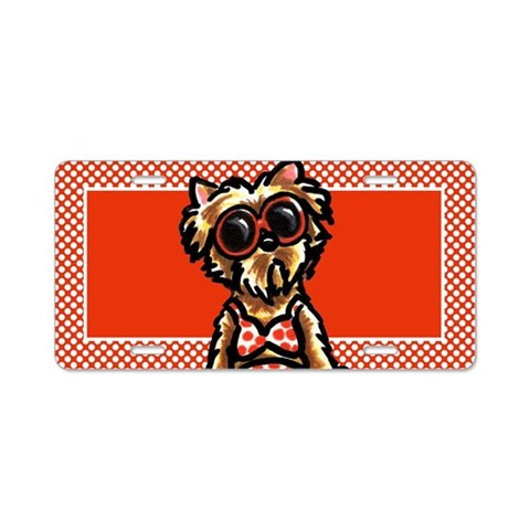 Beach Yorkie  Funny Aluminum License Plate by CafePress