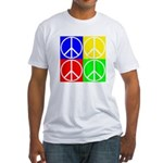Four Color Peace Sign Fitted T-Shirt