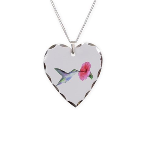 Hummingbird  Animals Necklace Heart Charm by CafePress