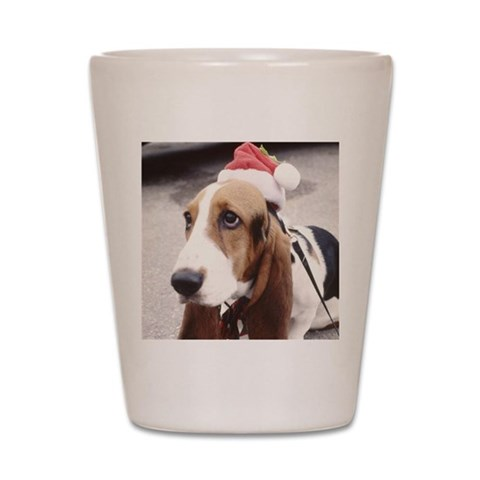 Basset Hound wearing Santa Ha  Pets Shot Glass by CafePress
