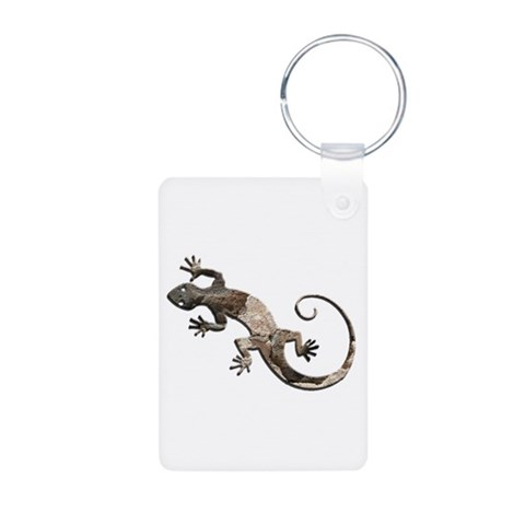 Brown Stone Gecko  Native american Aluminum Photo Keychain by CafePress