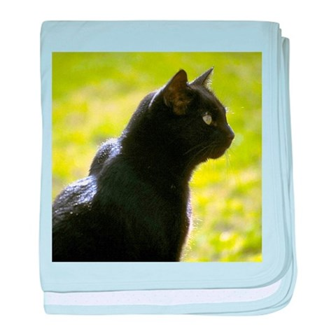 Black Cat profile  Pets baby blanket by CafePress