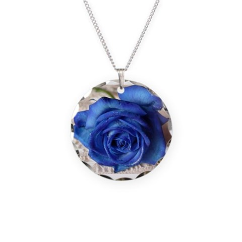 Blue rose Necklace Circle Charm by CafePress