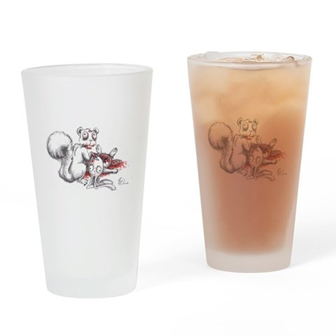 Zombie Squirrel  Humor Drinking Glass by CafePress