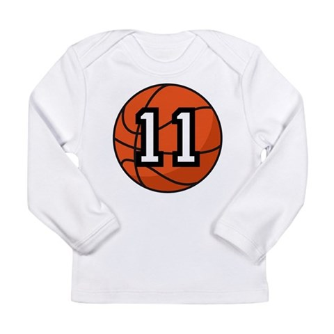 Basketball Player Number 11 Long Sleeve Infant T-S Sports Long Sleeve Infant T-Shirt by CafePress