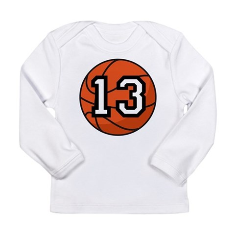 Basketball Player Number 13 Long Sleeve Infant T-S Sports Long Sleeve Infant T-Shirt by CafePress