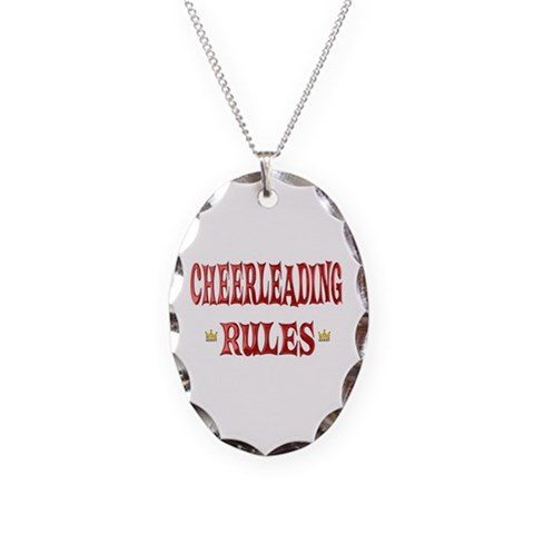 Cheerleading Rules  Sports Necklace Oval Charm by CafePress