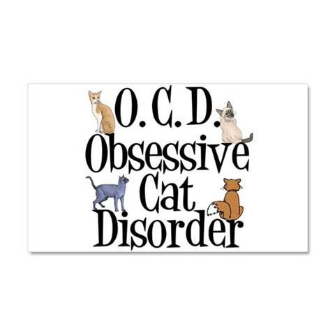 Obsessive Cat Disorder  Pets Car Magnet 20 x 12 by CafePress
