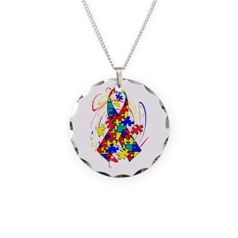 Autism Awareness  Autism Necklace Circle Charm by CafePress