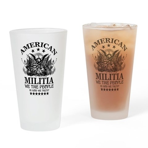 American Militia Military Drinking Glass by CafePress